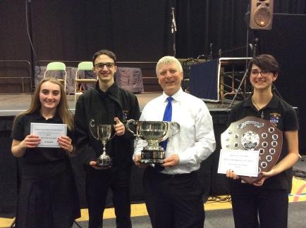 Musical Director Antony, Principle Cornet Ellie, Principle Trombone Saffina and Bass Section leader Ed.cornete cornet