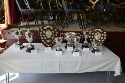 Trophies on display from recent competitions